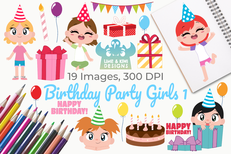 Birthday Party Girls 1 Clipart, Instant Download Vector Art.