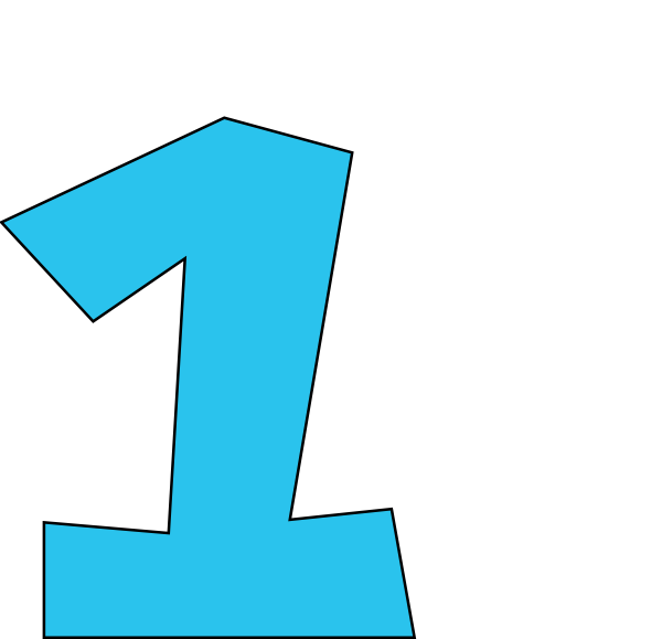 Blue Number One Clipart.