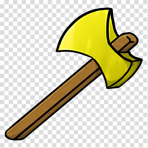 MineCraft Icon , Gold Axe, brown and yellow axe illustration.