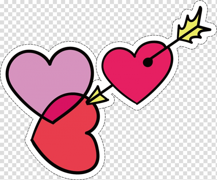 Three red and pink hearts with 1 arrow art, Heart.