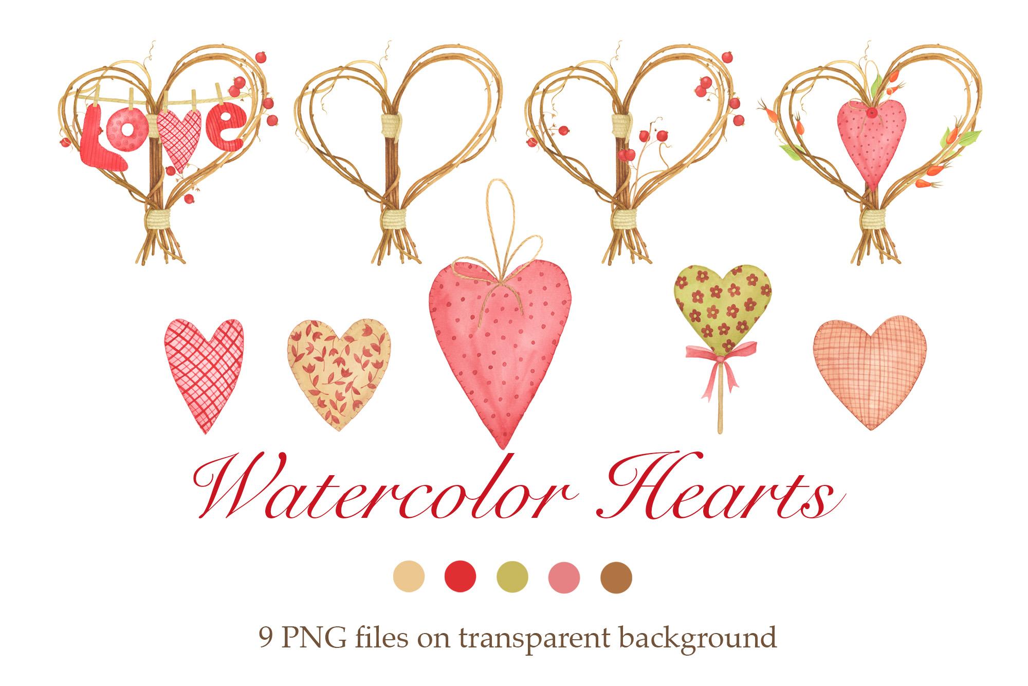 Watercolor Hearts Clipart.