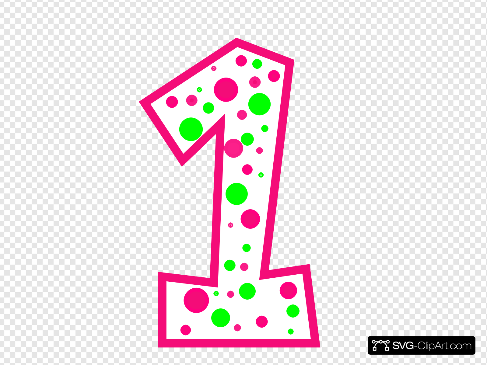 Number 1 Pink And Green Polkadot(r) Clip art, Icon and SVG.
