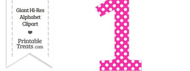 Hot Pink Polka Dot Number 1 Clipart.