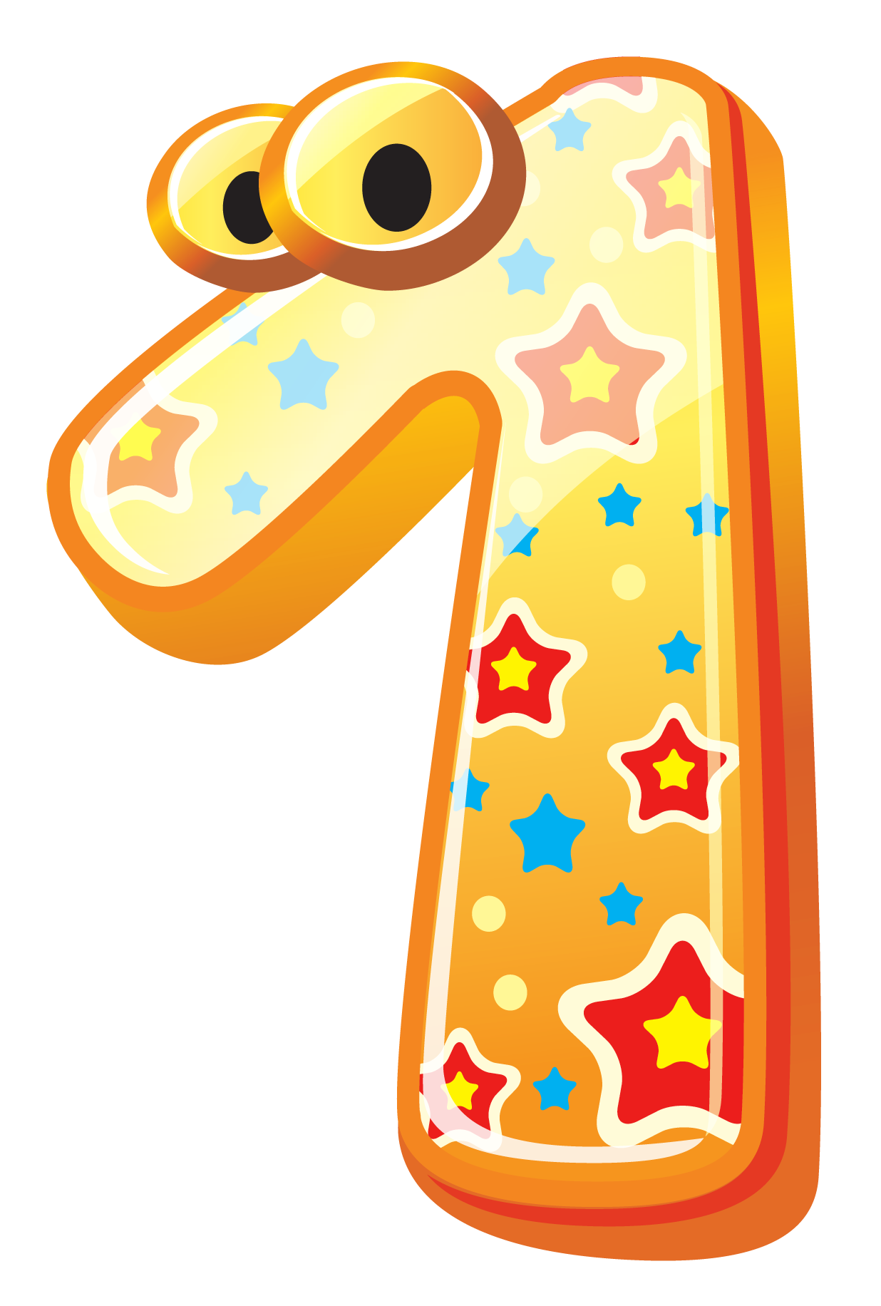 Cute Number One PNG Clipart Image.