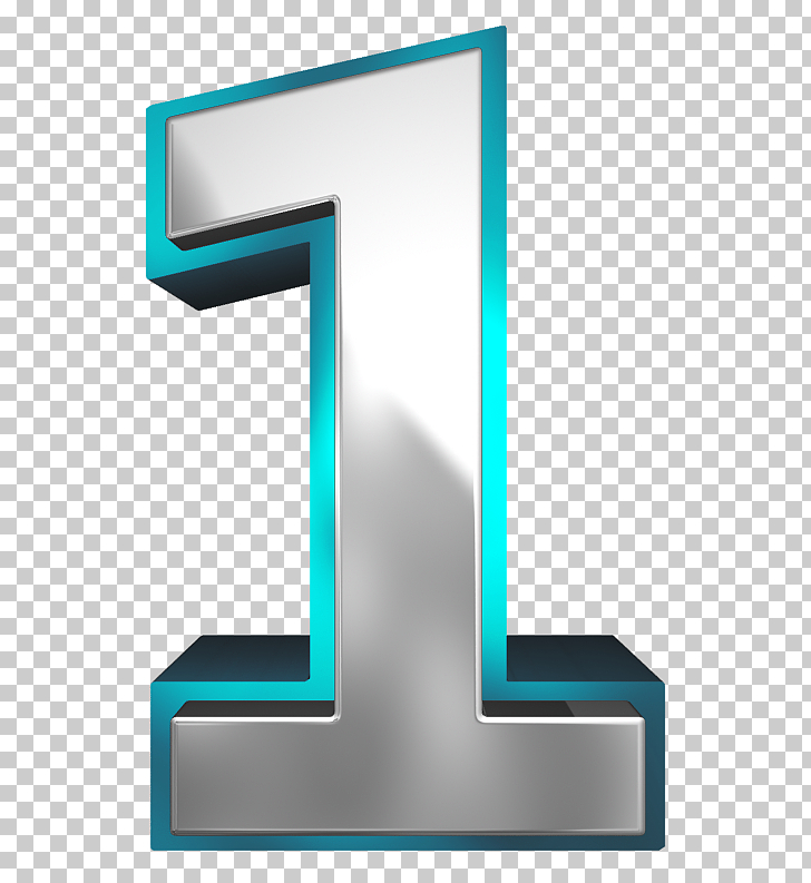 Number , Metallic and Blue Number One , 1 illustration PNG.
