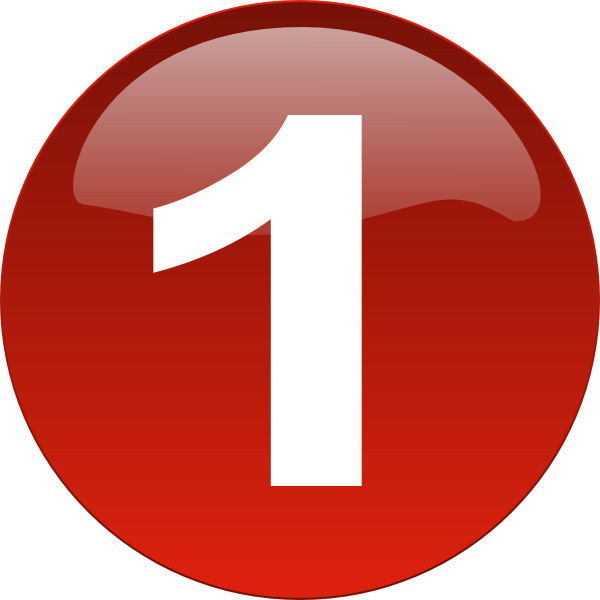 Red Number 1 Clipart.