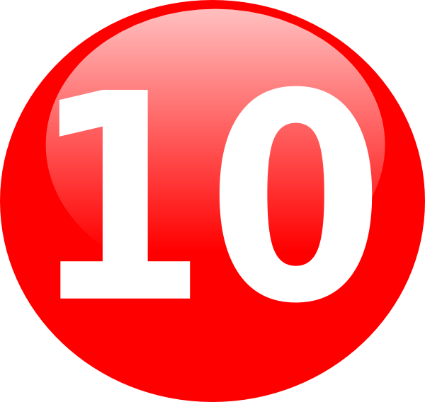 Glossy Red Circle Icon With 10 Clip Art at Clker.com.