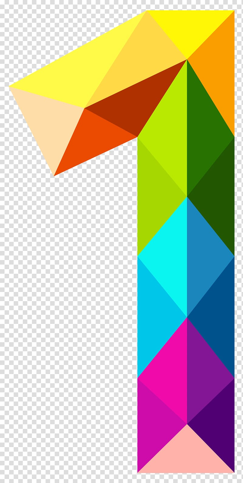 Number Color , Colourful Triangles Number One , multicolored.