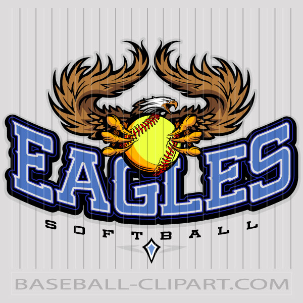 Eagles Softball Logo Image. Easy to Edit Vector Format..