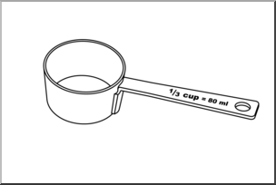 Clip Art: Measuring Cups: Third Cup B&W I abcteach.com.