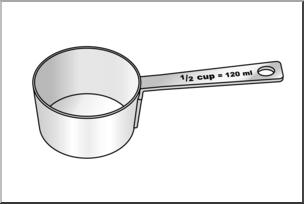 Clip art: Measuring Cups: Half Cup Grayscale I abcteach.com.