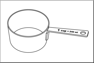 Clip Art: Measuring Cups: One Cup B&W I abcteach.com.