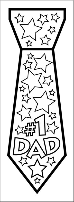 Clip Art: No. 1 Dad Tie B&W I abcteach.com.
