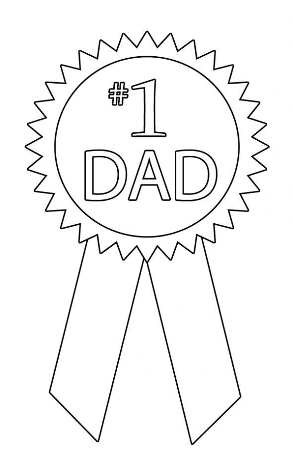 1 Dad Ribbon coloring page..