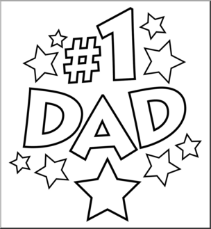 Clip Art: No. 1 Dad B&W I abcteach.com.
