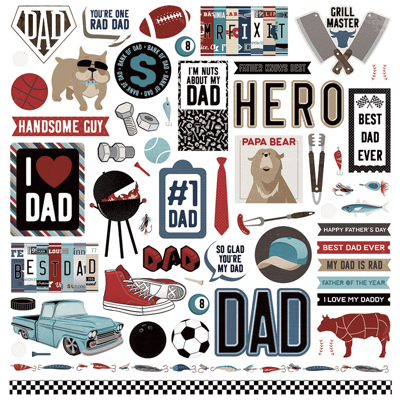 Photo Play Paper Best Dad Ever Elements Stickers.