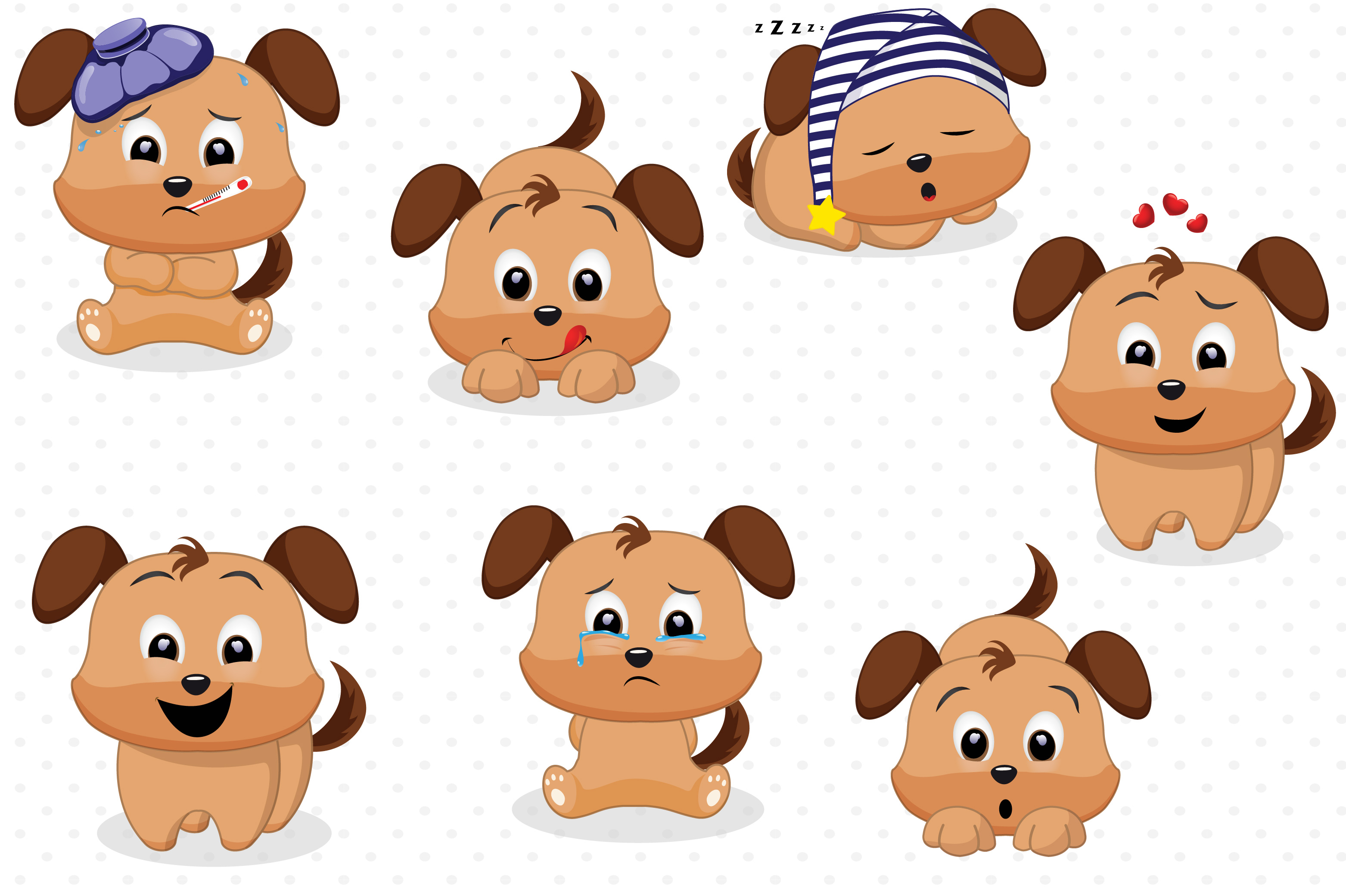 Dog emotions graphics, Dog clipart.