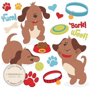 Professional Large Puppy Dog Clipart & Vector Set.