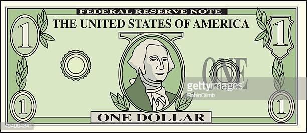 60 Top American One Dollar Bill Stock Illustrations, Clip art.