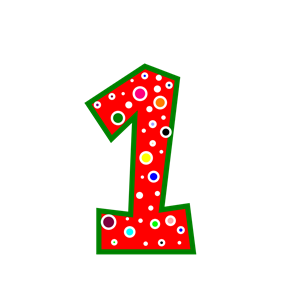 Number 1 Pink And Green Polkadot clipart, cliparts of Number.
