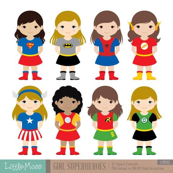 Girls Superhero Costumes Clipart 1, Girl Superheroes.
