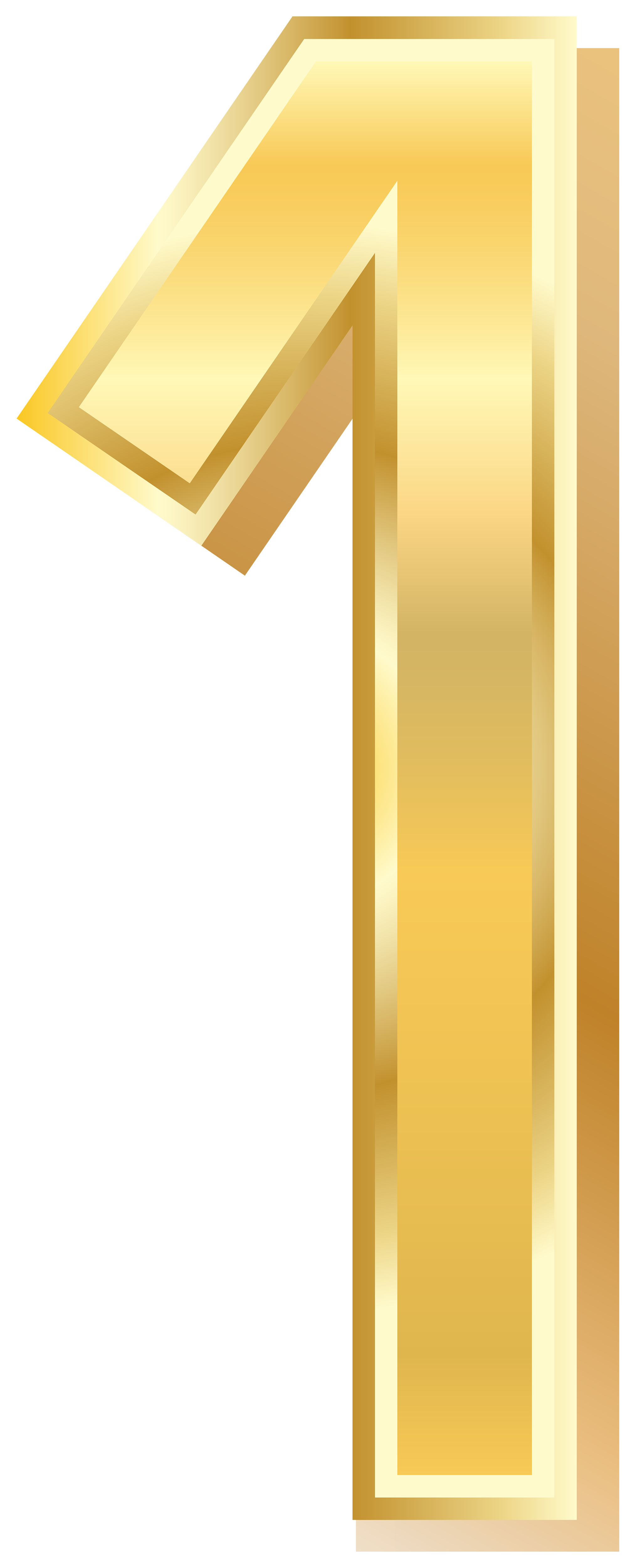 Gold Style Number One PNG Clip Art Image.