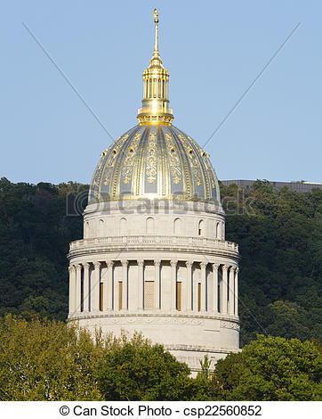 Stock Images of West Virginia Golden Ornate State Capital Dome.