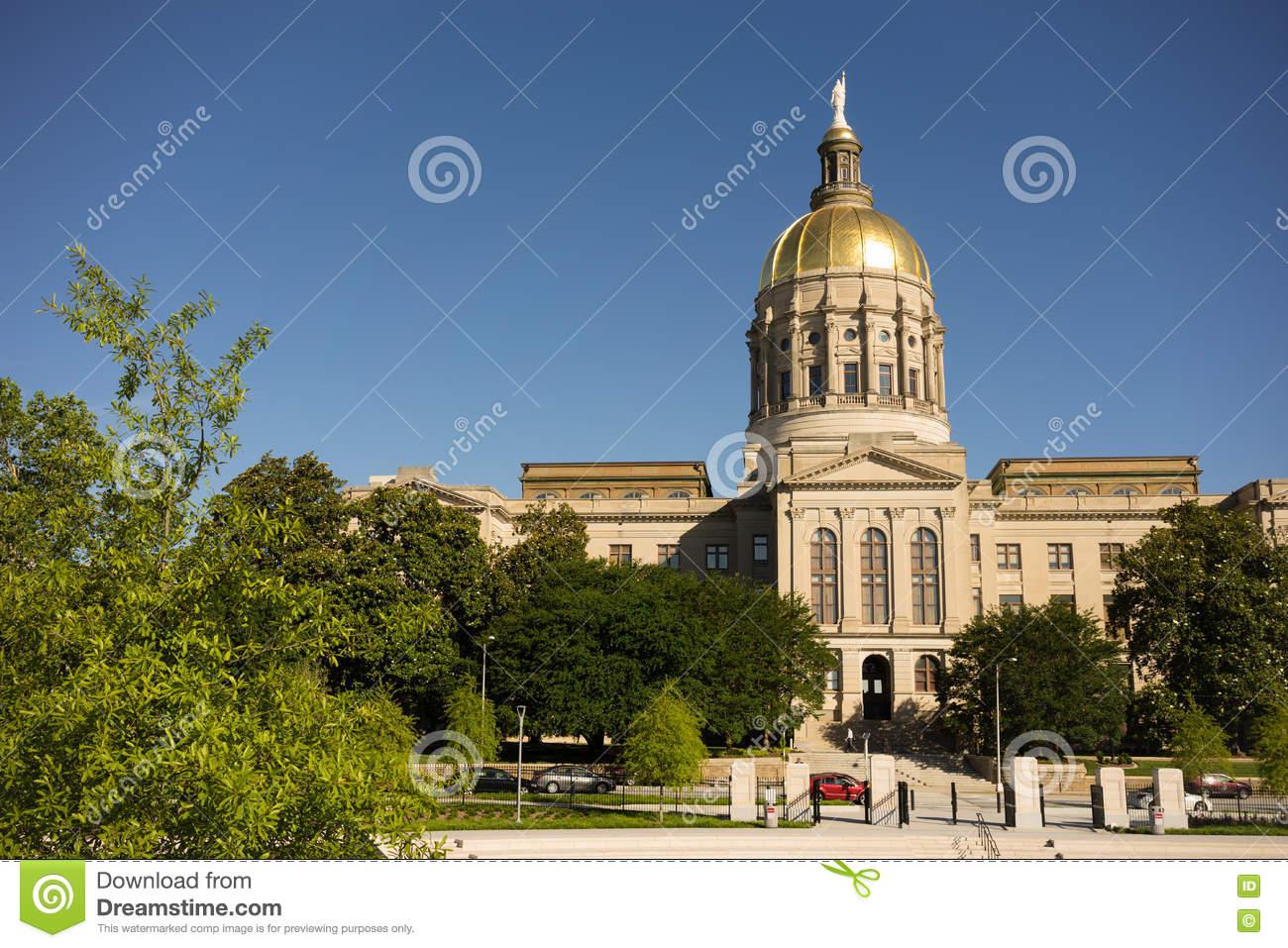 Gold Dome Of Georgia Capitol Stock Image.