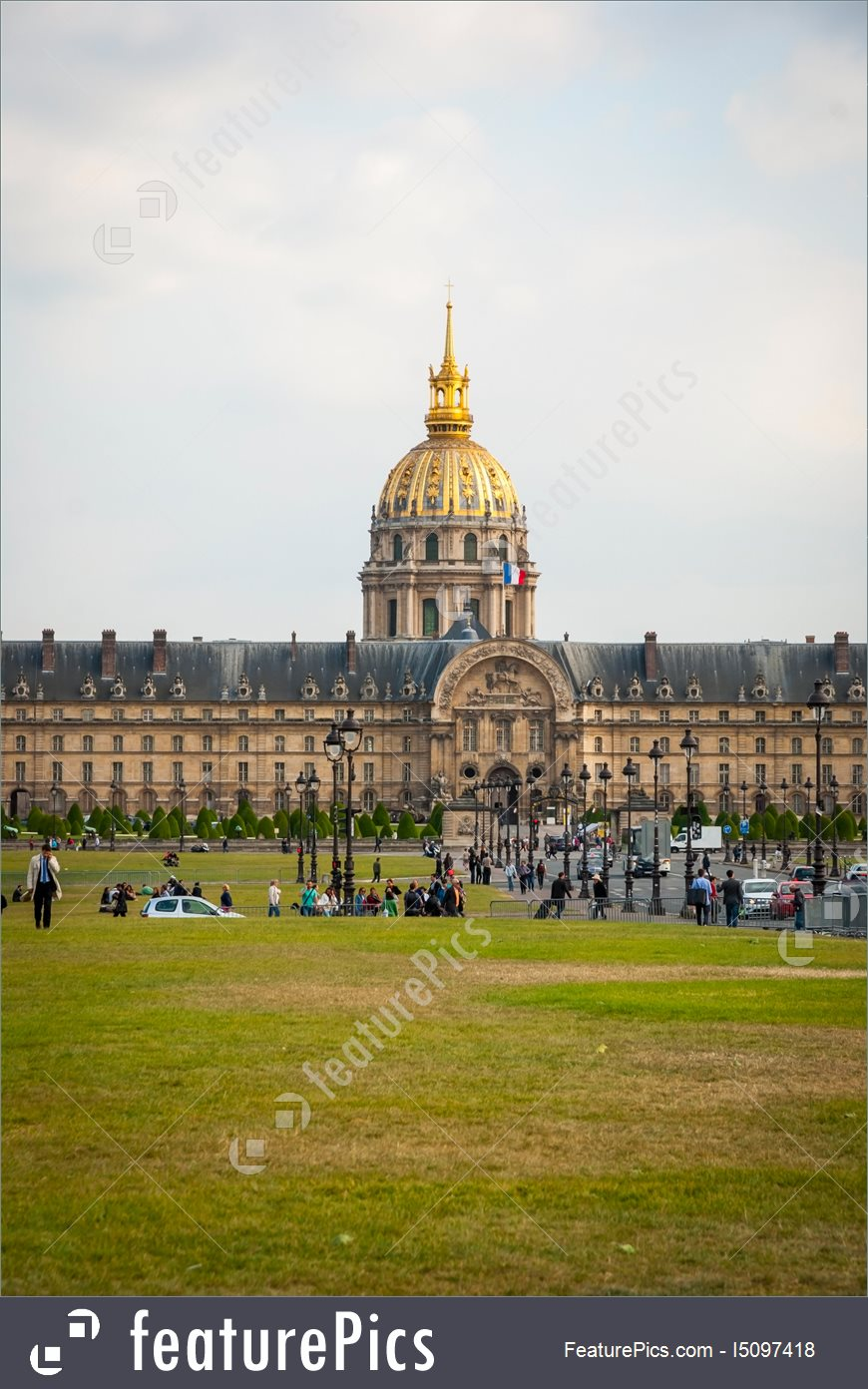 View On Les Invalides Building With Golden Dome, Paris Stock Picture.
