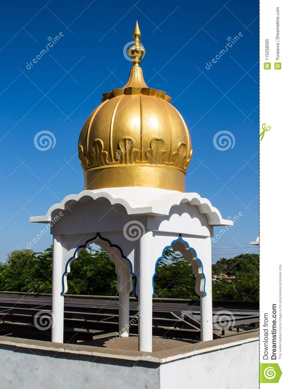 Sikh temple golden dome stock image. Image of building.
