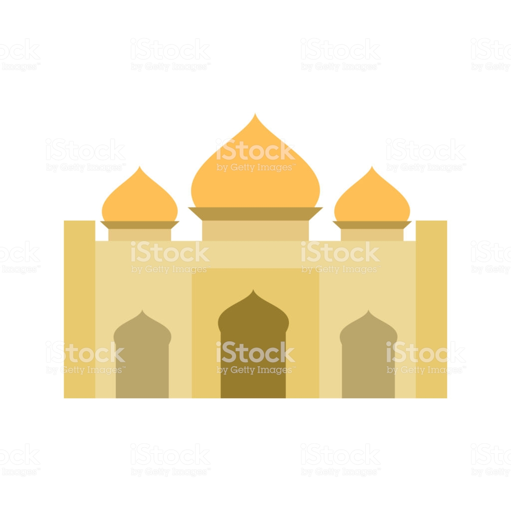Golden Flat Color Islamic Mosque Building Illustration Design Stock.