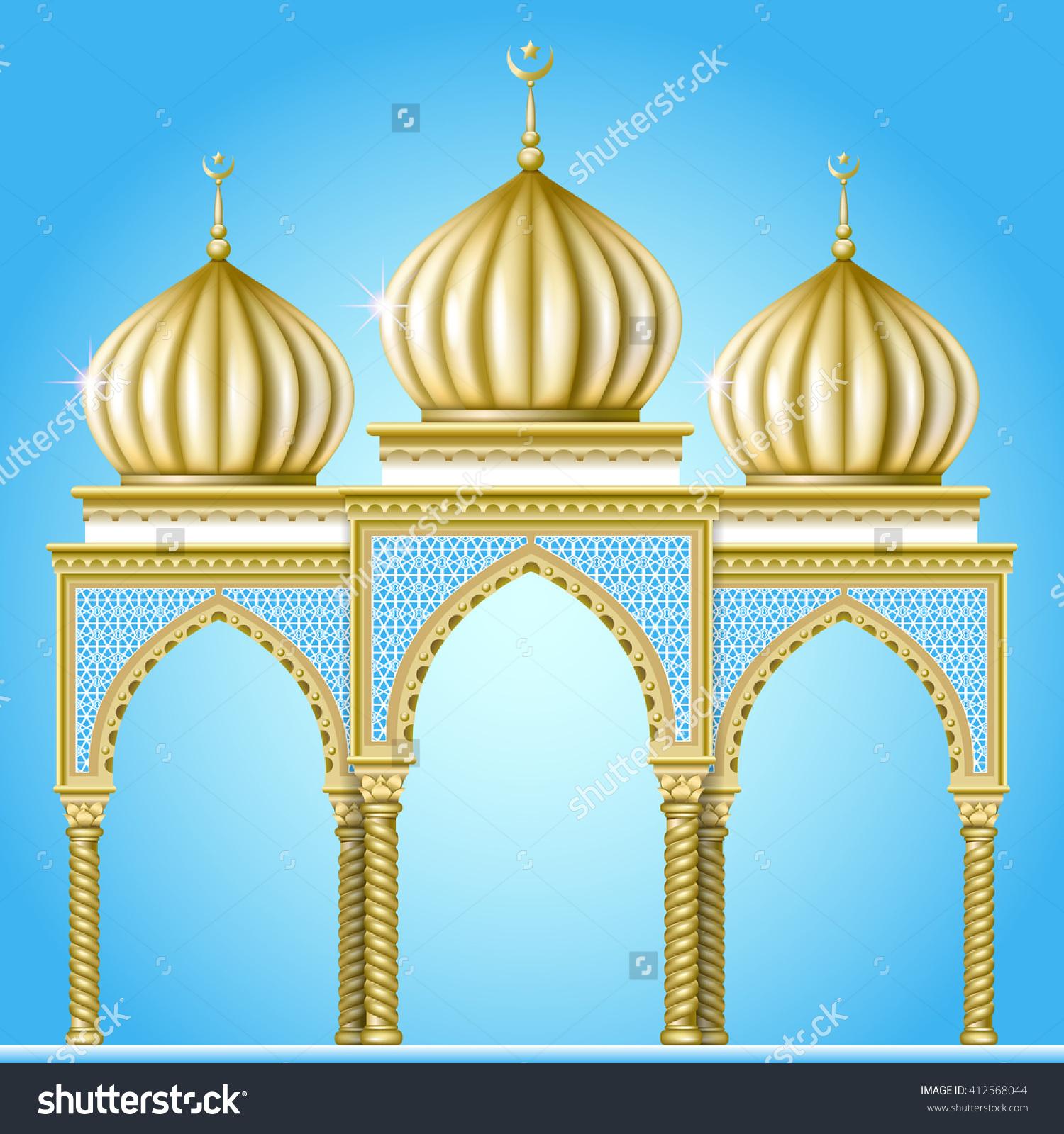 Garden Religious Building Oriental Style Golden Stock Vector.