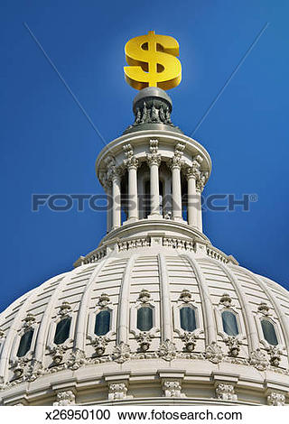 Stock Photography of Gold Dollar Sign Atop US Capitol Dome.