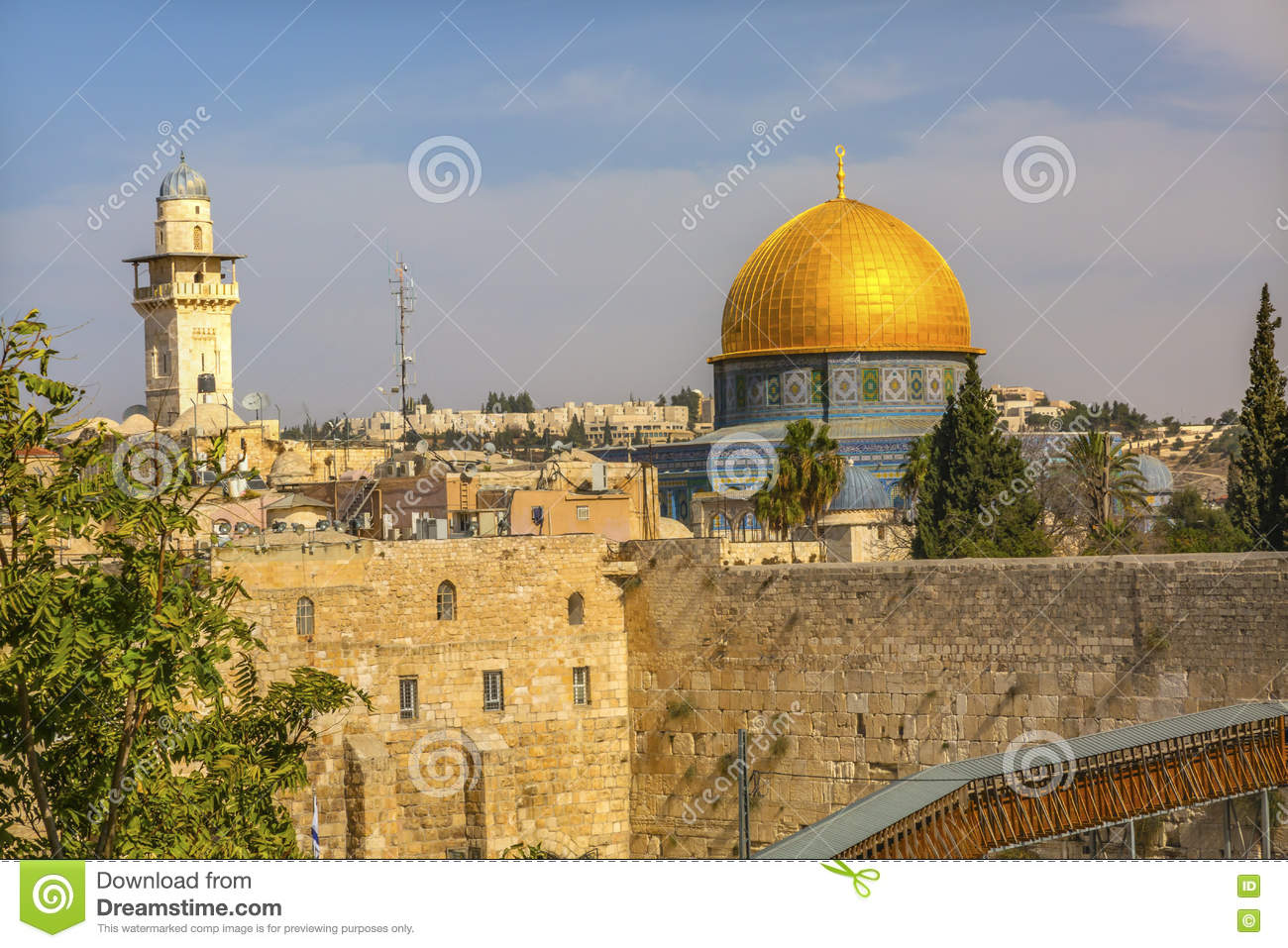 Golden Dome Of The Rock Western Western`Wailing` Wall Of Ancient.