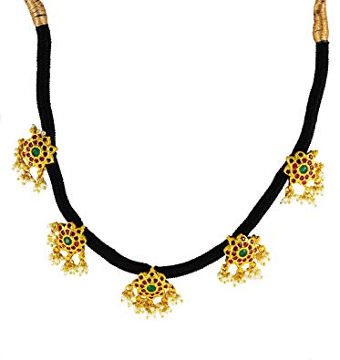 Buy UG Products Black Thread Choker Necklace With Gold.
