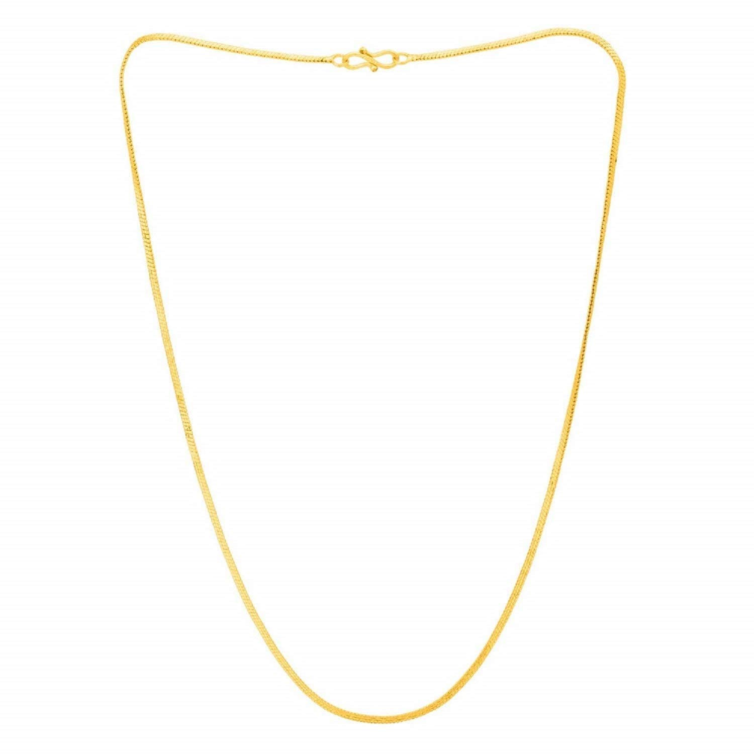 AFJ GOLD One Gram Gold Plated Designer Ethnic Fashion Jewellery Rhodium  Coated Gents Neck Chain for Mens and Boys(18 INCHS).
