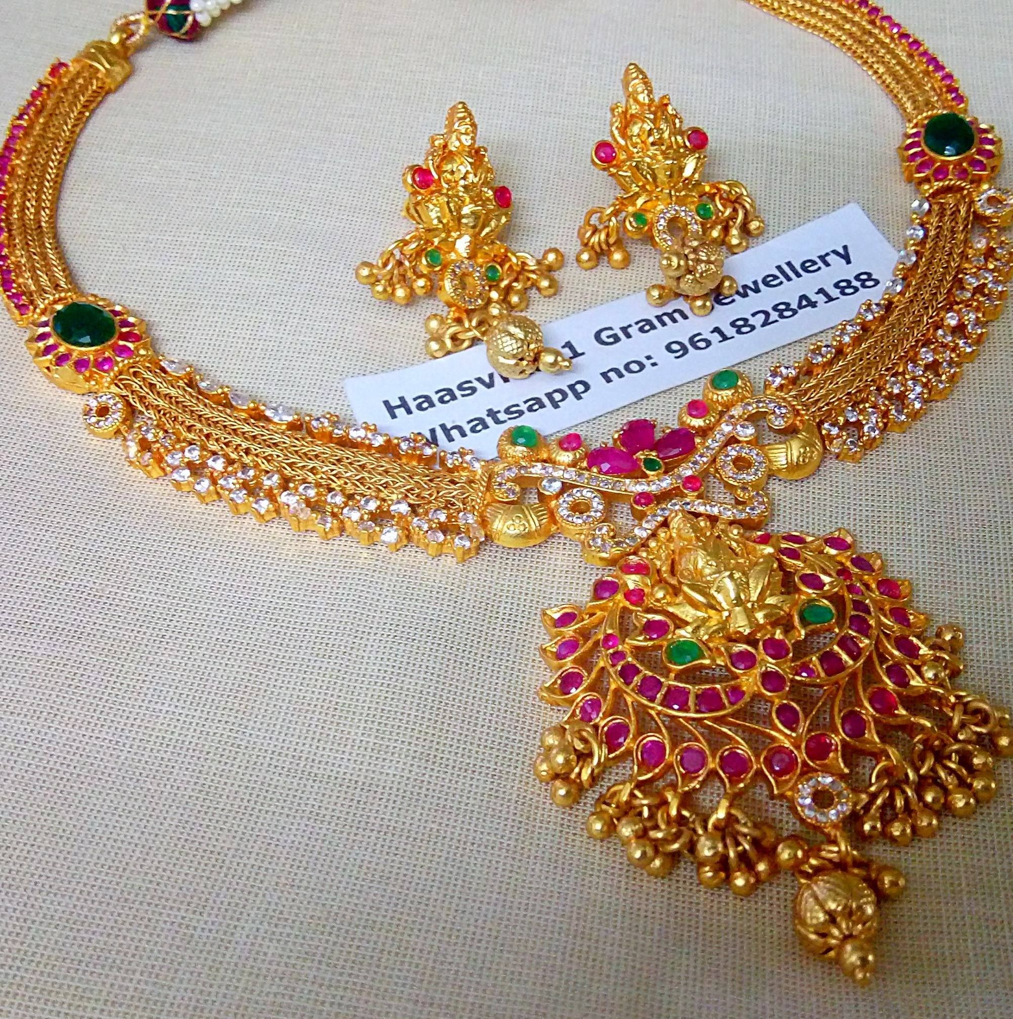 Stunning one gram gold necklace with big lakshmi devi.