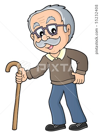 Grandpa with walking stick image 1.
