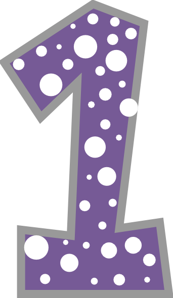 Purple Number One Clipart.