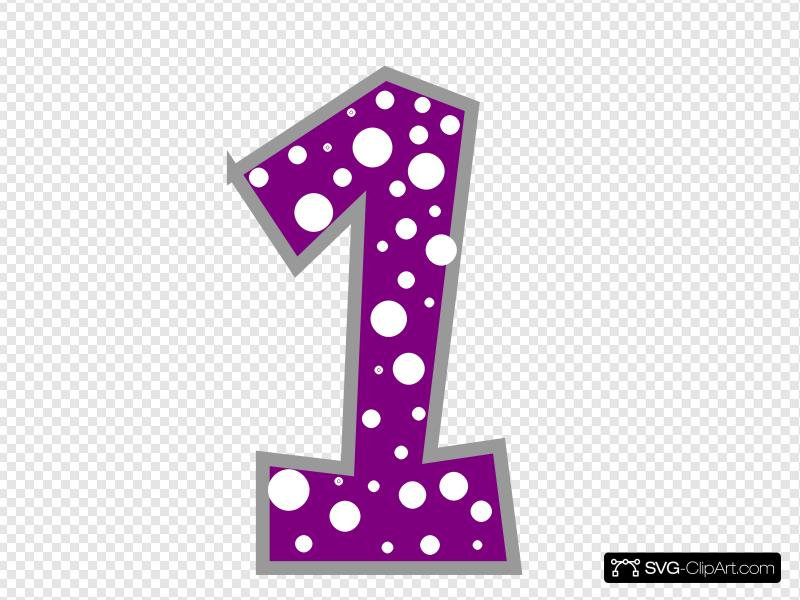 Number 1 Purple And Grey Polkadot Clip art, Icon and SVG.