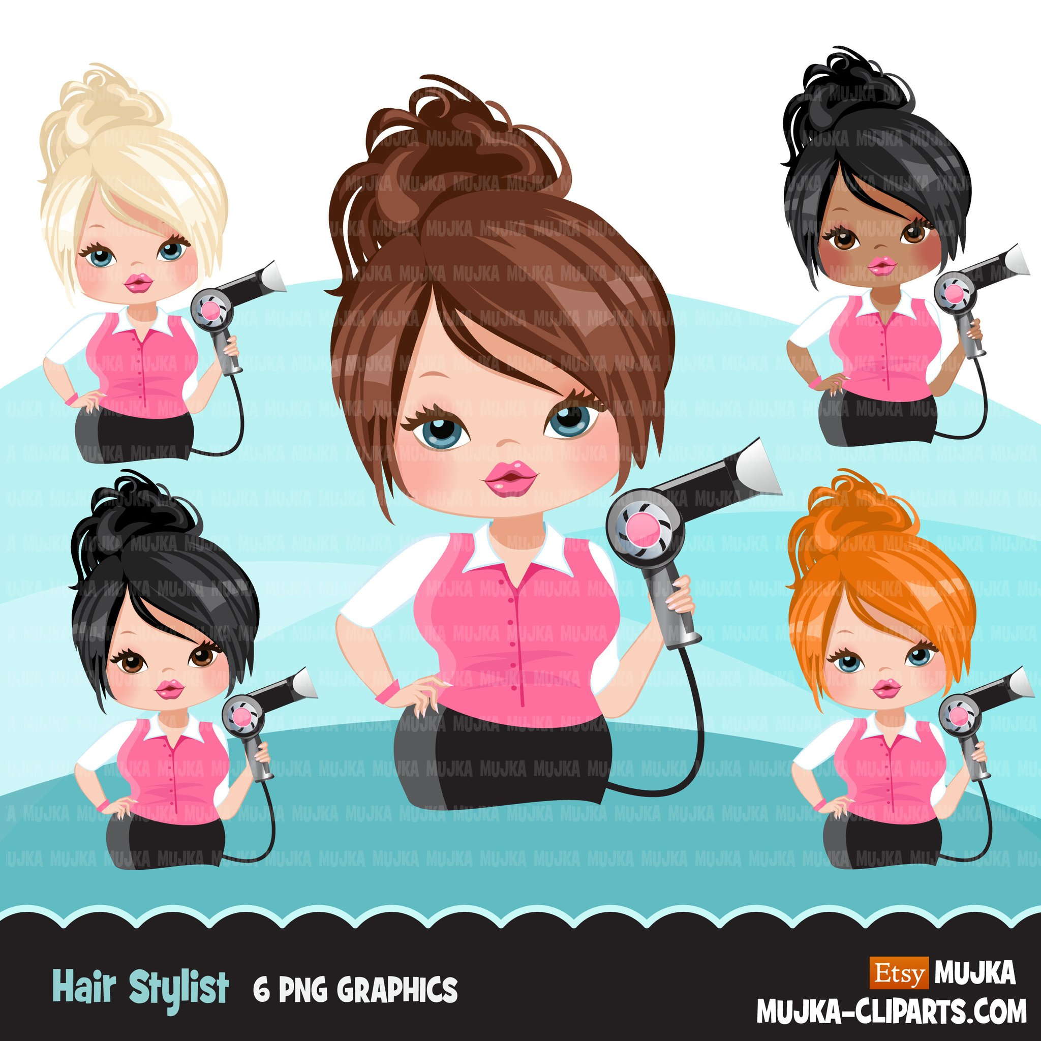 Hair stylist woman clipart avatar with hairdryer, print and cut, shop logo  boss hairdresser clip art graphics.