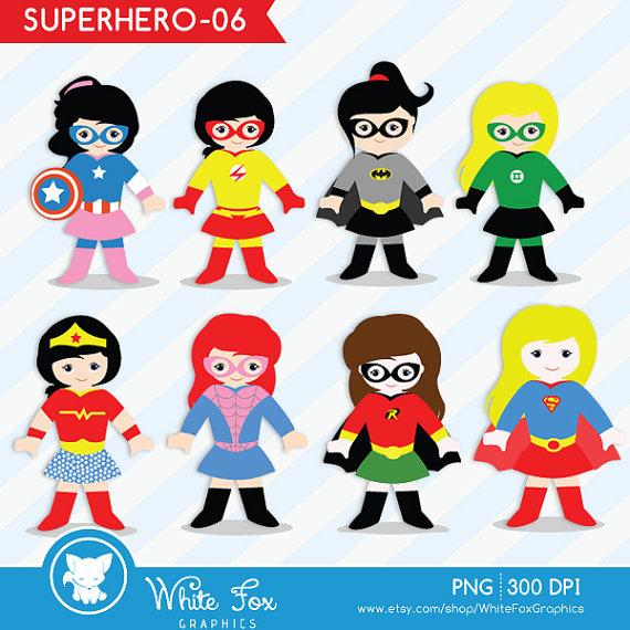 Girl Superhero Clipart / Little Girl Superheroes / 1 FREE.