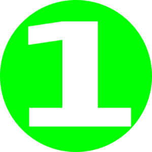 Glossy Green Circle Icon With 1 Clip Art at Clker.com.