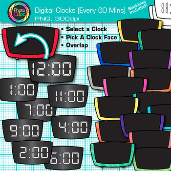Digital Clock Clip Art Every 60 Minutes: Telling Time Graphics {Photo Clipz}.