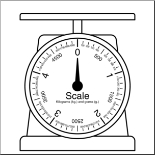 Clip Art: Weights and Measures: Kilogram Scale 1 B&W I.