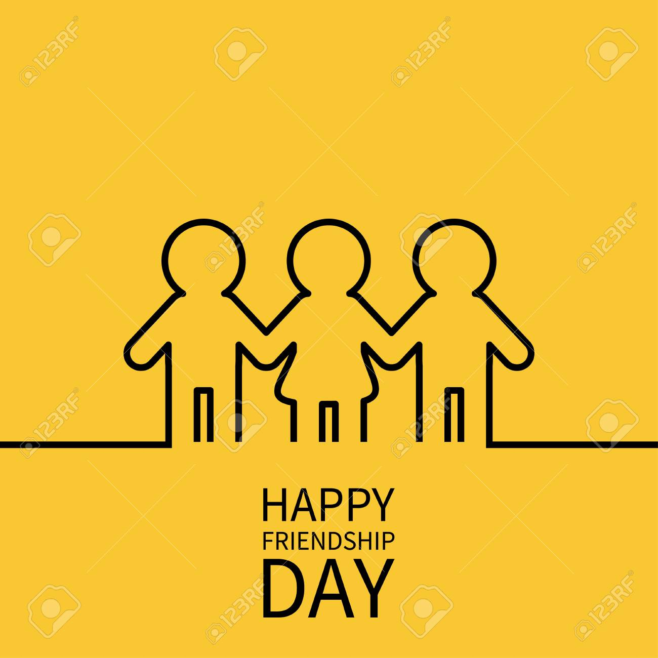 Happy Friendship Day. Two black man male and one woman female...