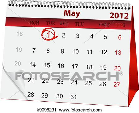 Clipart of holiday calendar for 1 May k9098231.
