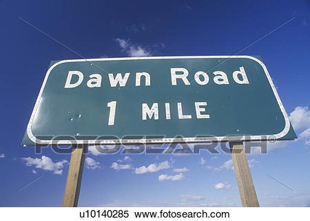 "Stock Image of A sign that reads ""Dawn Road 1 Mile"" u10140285."