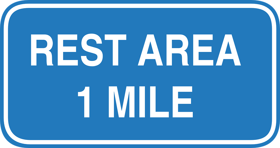 Free vector graphic: Rest, Area, 1, One, Mile, Ahead.