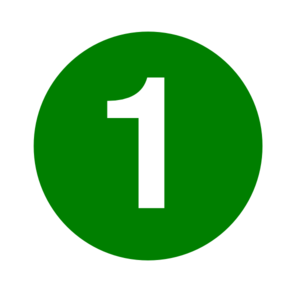 White Numeral 1 Inside Green Circle Clip Art.